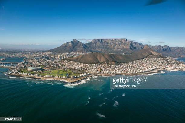 an aerial view of cape town - table mountain stock pictures, royalty-free photos & images