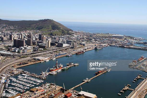 An aerial view of Cape Town Stadium Table Bay and the port of Cape Town with the Central Business District just inland on September 16 2011 in South...