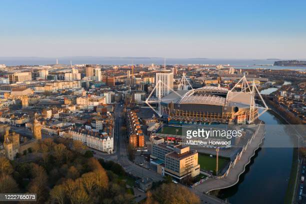 An aerial view of Cardiff City centre showing the Principality Stadium, formerly the Millennium Stadium, and Cardiff Arms Park on March 22, 2020 in...