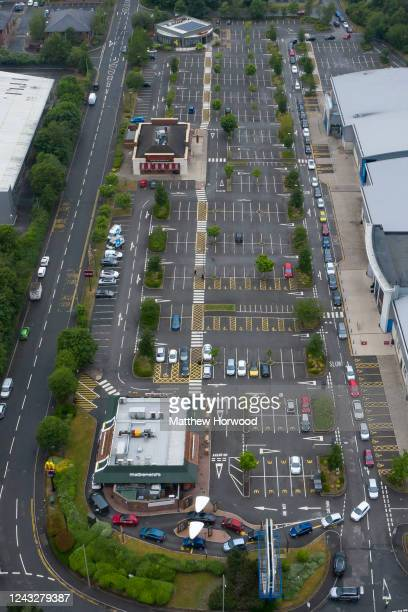 An aerial view of cars queuing for a McDonald's drive-through restaurant on June 03, 2020 in Nantgarw, United Kingdom. The Welsh government has...