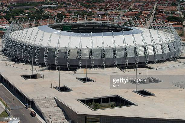 An aerial view of Castelao Arena in Fortaleza state of Ceara in northeastern Brazil on April 16 2013 Fortaleza will host the upcoming FIFA...