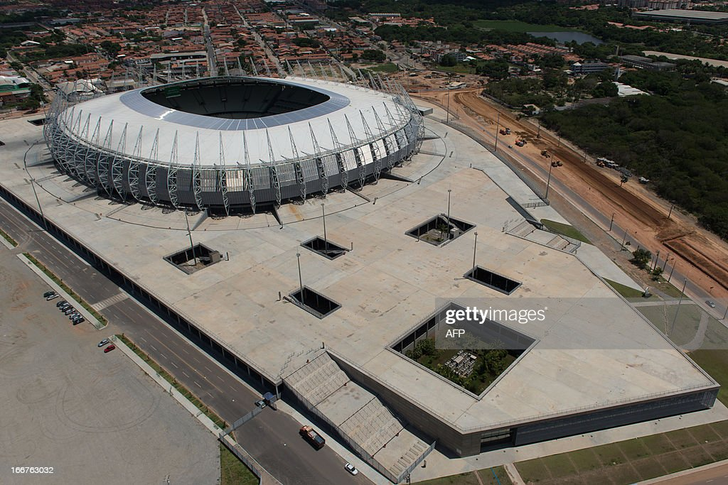 An aerial view of Castelao Arena, in Fortaleza, state of Ceara, in northeastern Brazil, on April 16, 2013