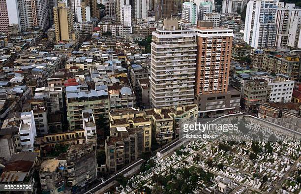 An aerial view of Central Macau looking down on the exPortuguese colony including its Chinese Christian cemetery of San Miguel Macau is now...