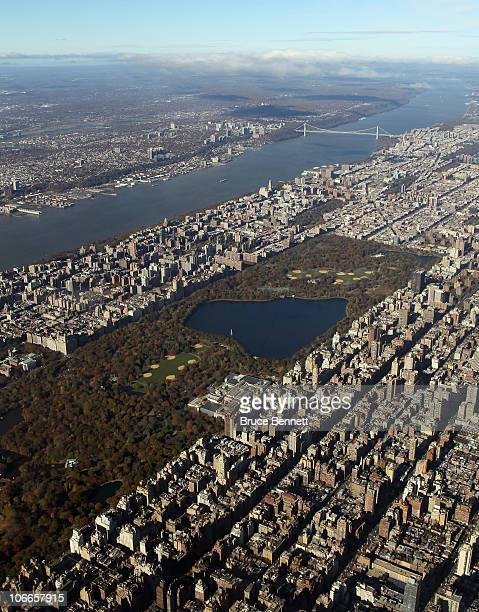 An aerial view of Central Park and the Hudson River photographed on November 9 2010 in New York City