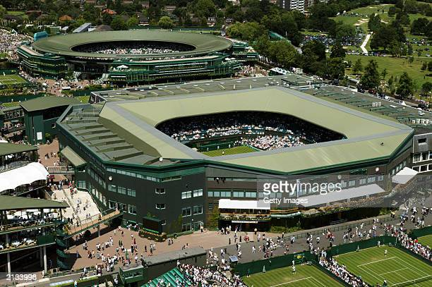 An aerial view of Centre Court and Court One taken during day two of the Wimbledon Lawn Tennis Championships held on June 24 2003 at the All England...