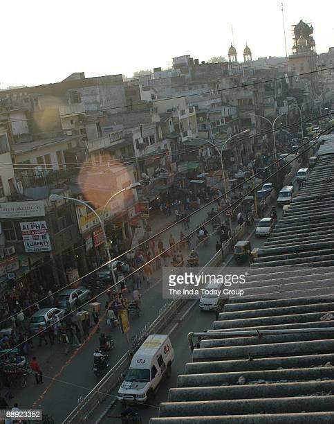 An aerial view of Chandni Chowk Old Delhi