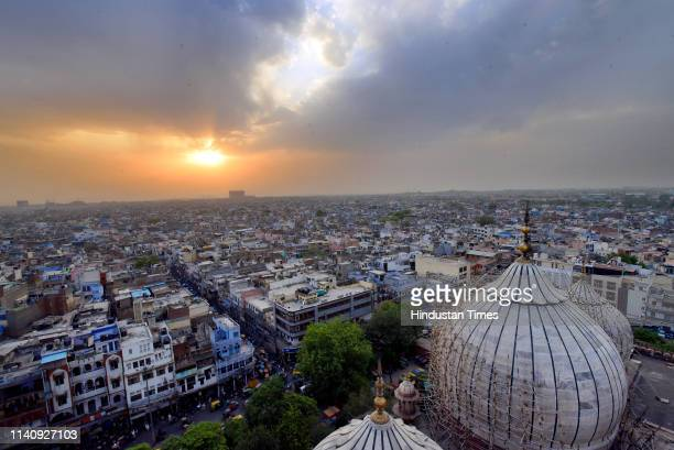 An aerial view of Chandni Chowk on April 30 2019 in New Delhi India