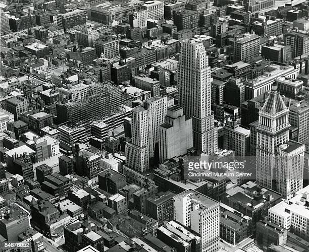 An aerial view of Cincinnati showing the skyline and ongoing construction 1947