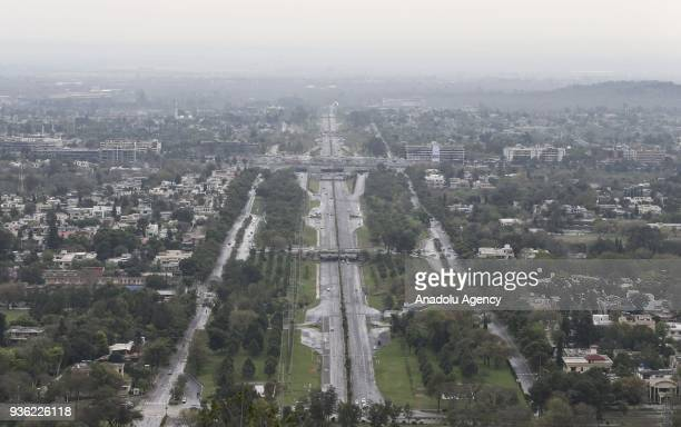 An aerial view of city scape in Islamabad Pakistan on March 14 2018 City staff prepared the city surroundings for being ready for celebrations of...