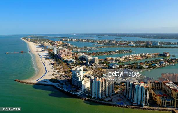 An aerial view of Clearwater Beach on January 31, 2021 in Clearwater, Florida.