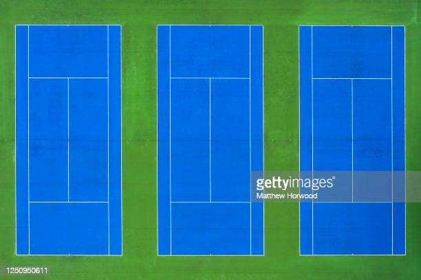 An aerial view of closed tennis courts in Hailey Park on June 20, 2020 in Cardiff, United Kingdom. The First Minister of Wales Mark Drakeford has...