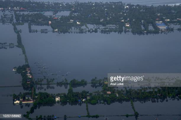An aerial view of Cochin city from the aircraft on August 20 2018 in Kerala India Over 350 people have reportedly died in the southern Indian state...