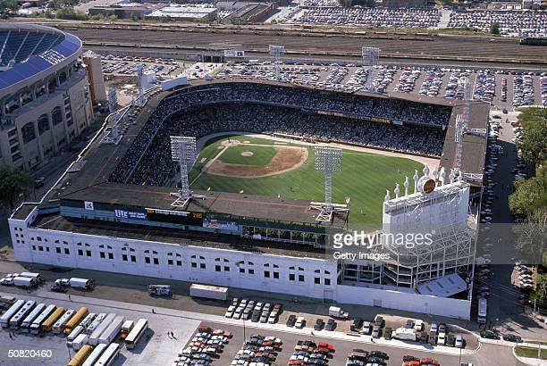 An aerial view of Comiskey Park circa 1990 in Chicago Illinois