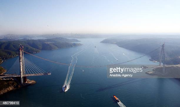 An aerial view of construction site of the 3rd bridge over Bosphorus strait during President of Turkey Recep Tayyip Erdogan's aerial tour over...