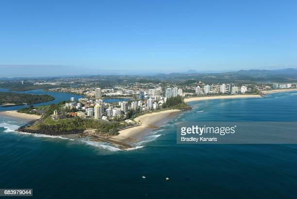 An aerial view of Coolangatta Beachfront can be seen far right it will host the Beach Volleyball at the 2018 Commonwealth Games on May 17 2017 in...
