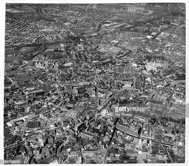 An aerial view of Coventry showing the Cathedral in England Circa 1949