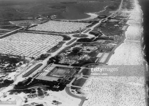 An aerial view of crowds sunbathing on Jones Beach Long Island New York circa 1960
