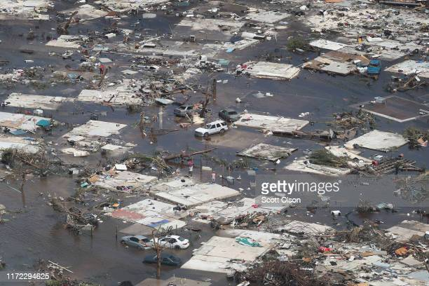 An aerial view of damage caused by Hurricane Dorian is seen in Marsh Harbour on Great Abaco Island on September 4, 2019 in Great Abaco, Bahamas. A...