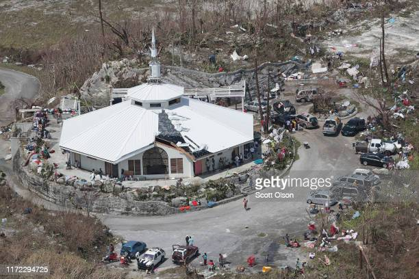 An aerial view of damage caused by Hurricane Dorian is seen in Marsh Harbour on Great Abaco Island on September 4 2019 in Great Abaco Bahamas A...