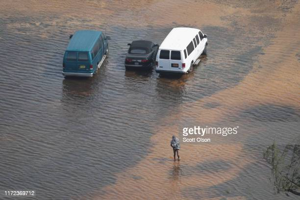 An aerial view of damage caused by Hurricane Dorian is seen on Grand Bahama Island on September 4 2019 in Freeport Bahamas A massive rescue effort is...