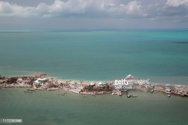 An aerial view of damage caused by Hurricane Dorian is seen on Great Abaco Island on September 4 2019 in Great Abaco Bahamas A massive rescue effort...