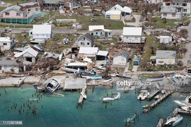 An aerial view of damage caused by Hurricane Dorian is seen on Great Abaco Island on September 4, 2019 in Great Abaco, Bahamas. A massive rescue...