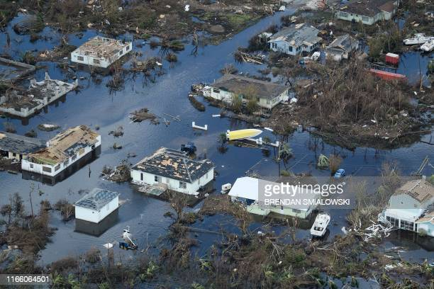 An aerial view of damage from Hurricane Dorian on September 5 in Marsh Harbour, Great Abaco Island in the Bahamas. - Hurricane Dorian lashed the...