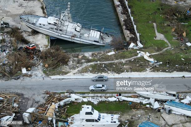 TOPSHOT An aerial view of damage from Hurricane Dorian on September 5 in Marsh Harbour Great Abaco Island in the Bahamas Hurricane Dorian lashed the...
