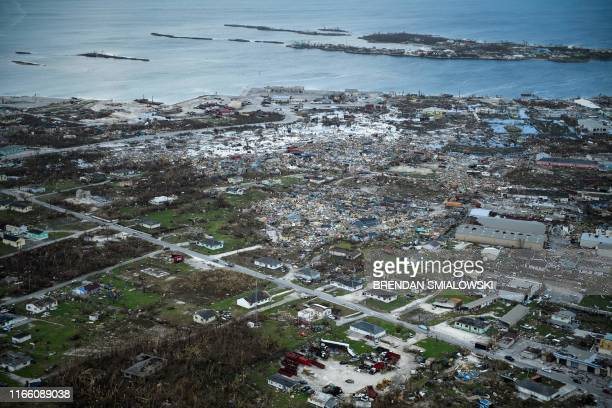 An aerial view of damage from Hurricane Dorian on September 5 in Marsh Harbour Great Abaco Island in the Bahamas Hurricane Dorian lashed the...