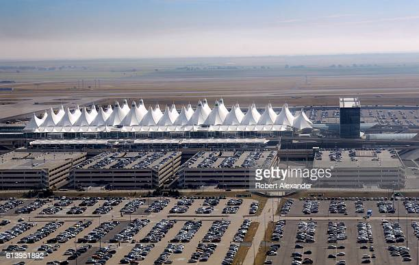 An aerial view of Denver International Airport as seen from a passenger plane landing at the airport on September 7 2016