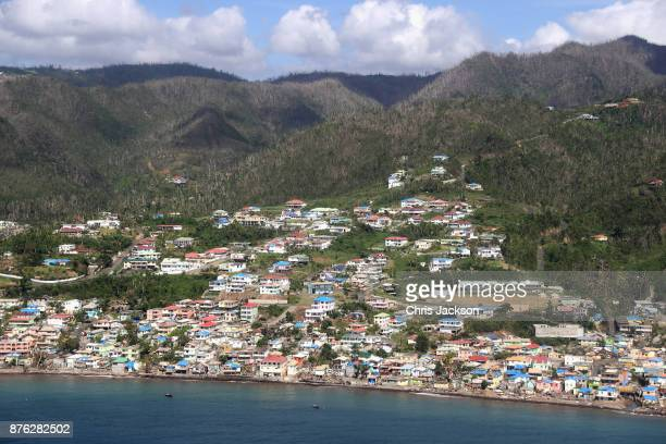 An aerial view of Dominica on November 19, 2017 in Dominica. The Prince of Wales is on a three day visit to the Caribbean to visit residents of a...