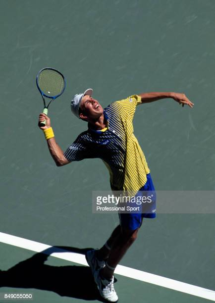 An aerial view of Dominik Hrbaty of Slovakia in action during a men's singles match at the Australian Open Tennis Championships in Melbourne circa...