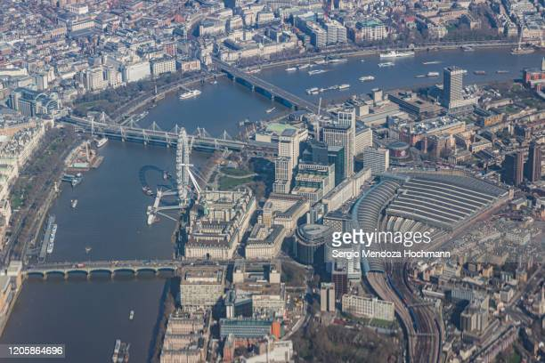an aerial view of downtown london, england - waterloo railway station london stock pictures, royalty-free photos & images