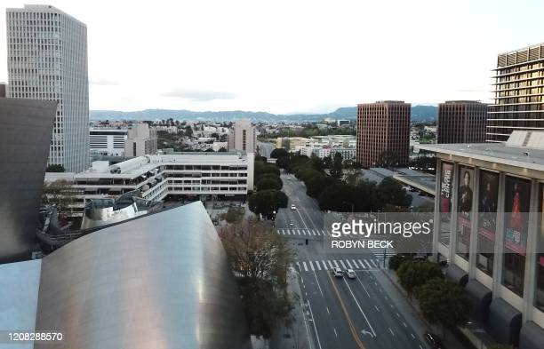 An aerial view of downtown Los Angeles California looking to the northwest from the Walt Disney Concert Hall during evening rush hour March 26 2020...