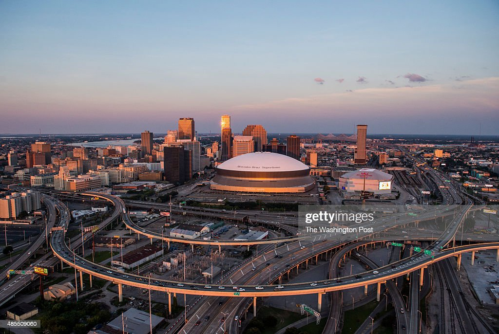 An aerial view of Downtown New Orleans on August 1, 2015 in New Orleans, La.