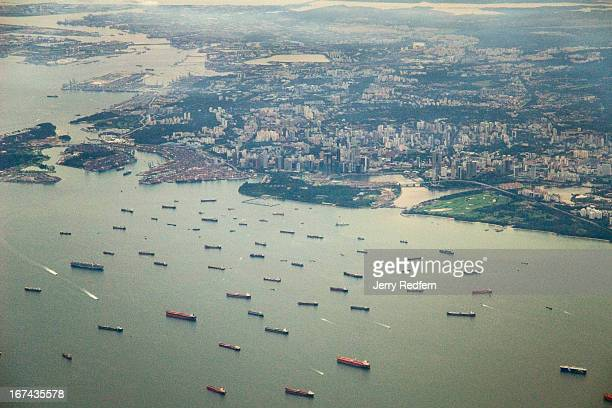 An aerial view of downtown Singapore showing some of the shipping that makes the Singapore Strait one of the busiest shipping lanes in the world