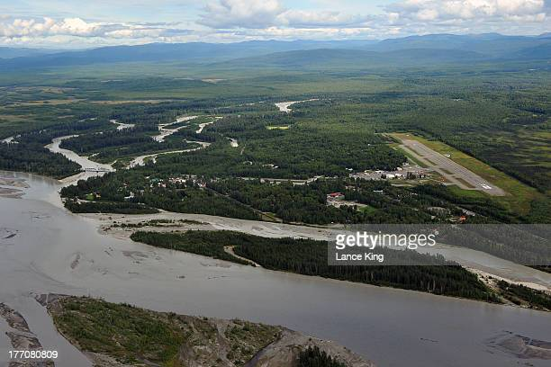 An aerial view of downtown Talkeetna , Talkeetna Airport , the Talkeetna River and the Susitna River on August 17, 2013 in Talkeetna Alaska.