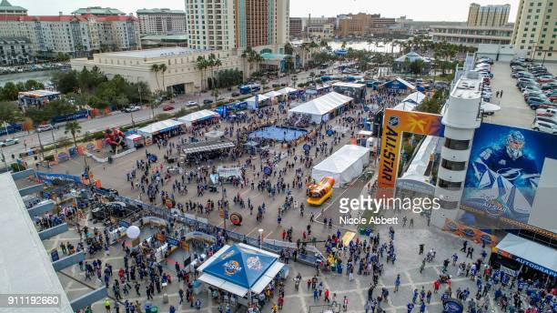 An aerial view of downtown Tampa the NHL AllStar PreGame and Amalie Arena before the GEICO NHL AllStar Skills Competition on January 27 2018 in Tampa...