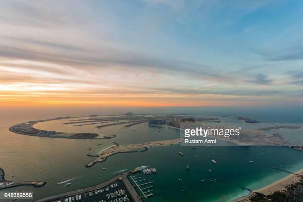 An Aerial View of Dubai Palm at Sunset on March 24 2015 in Dubai United Arab Emirates