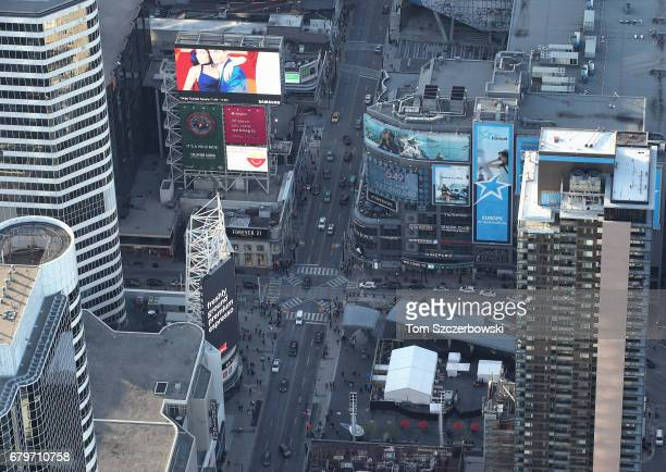 An aerial view of Dundas Square on Yonge Street on May 3 2017 in Toronto Ontario Canada
