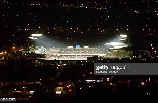 An aerial view of Eden Park at night taken during an All Blacks v Australia test match, 24th July 1999.