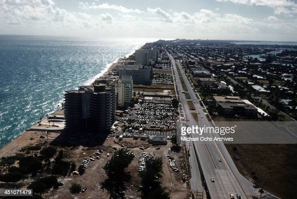 An aerial view of Eden Roc hotel on the beach in Miami Beach Florida