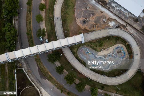 An aerial view of empty skate park of the Maracanã complex on April 10 2020 in Rio de Janeiro According to the Ministry of health as of today Brazil...