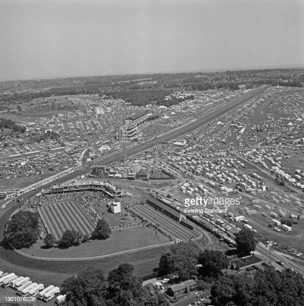 An aerial view of Epsom Downs Racecourse in Surrey on Derby Day, UK, 6th June 1973.