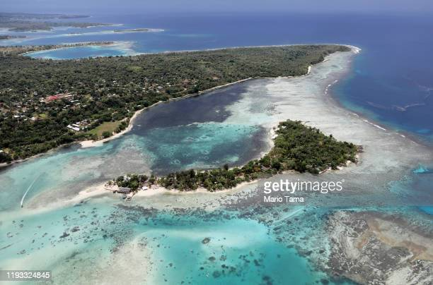 An aerial view of Erakor island and the coastline of Port Vila on December 07 2019 in Port Vila Vanuatu Satellite data show sea level has risen about...