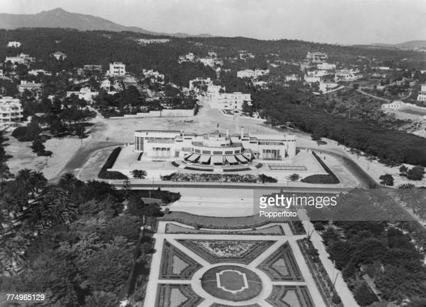 An aerial view of Estoril Casino and its courtyard, in Estoril, near Lisbon, Portugal, circa 1948. The modernist building dates from 1916.