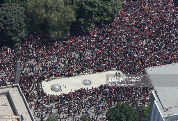 An aerial view of fans who gather along University Avenue as they turn out for the Toronto Raptors NBA Championship Victory Parade after defeating...