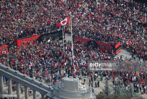 An aerial view of fans who gather at Exhibition Place near the Princes Gates as they turn out for the Toronto Raptors NBA Championship Victory Parade...