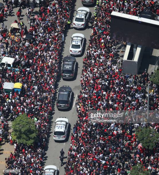 An aerial view of fans who gather on University Avenue as they turn out for the Toronto Raptors NBA Championship Victory Parade after defeating the...