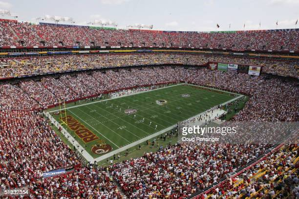 An aerial view of FedEx Field taken during NFL week one between the Washington Redskins and the Tampa Bay Buccaneers at FedEx Field on September 12...